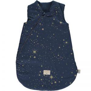 Cocoon-sleeping-bag-giogoteusse-saco-de-dormir-gold-stella-night-blue-nobodinoz-lecrazykids